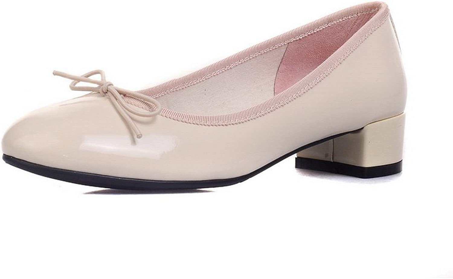 1TO9 Womens Chunky Heels Low-Cut Uppers Round-Toe Patent-Leather Pumps shoes MMS04511