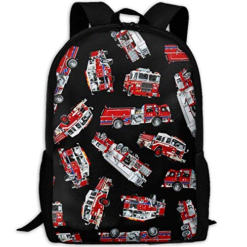 Homebe Rucksäcke,Daypack,Schulrucksack Red Fire Fighter Bus Canvas Laptop Backpack Cute School College Shoulder Bag for Women Men