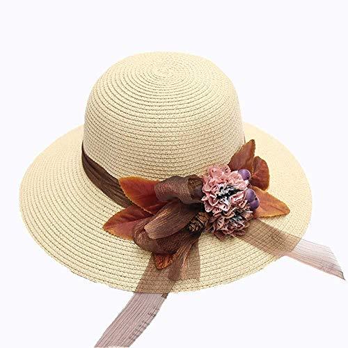 Las mujeres sombrero de paja sombreros de Protección Solar for la cortina...