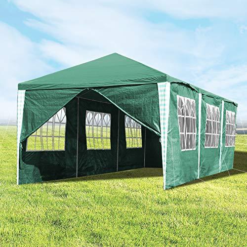 Hengda 3x9m Pavillon UV-Schutz Grün Partyzelt Material PE-Plane Gartenzelt Hochwertiges mit 8 Seitenteilen für Hochzeit Party Garten Markt
