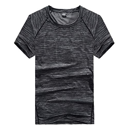 B/H Corto Camiseta Culturismo,Men's Outdoor Quick-Drying Clothes, Plus Fertilizer to Increase Loose Casual Clothes-Gray_L