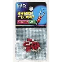朝日電器 (業務用セット) ELPA 絶縁被覆付Y型圧着端子 V1.25-YS4A レッド PS-073H(R) 10個 (×30セット)