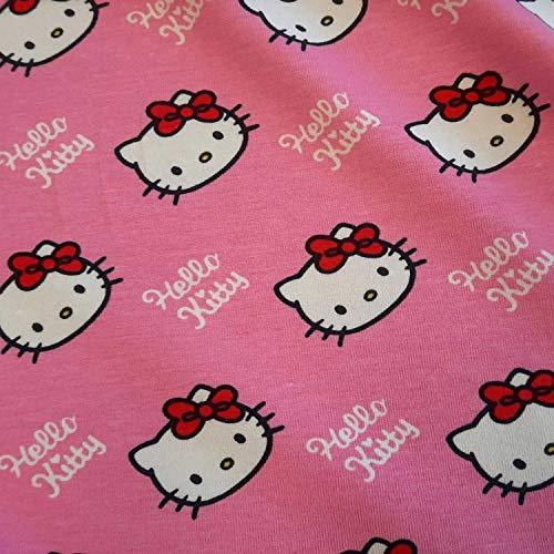 Stoff Meterware Baumwolle Jersey Hello Kitty rosa groß 4 cm Sanrio Kleiderstoff Preis je Meter