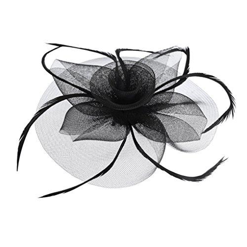JIAHG Braut Fascinator Blumen Netz Kopfschmuck Damen Haar Clip Hut Feder Haarschmuck Kopfbedeckung für Party Kirche Hochzeit Cocktail