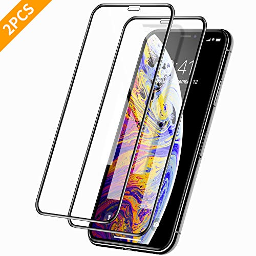 YT DIRECT 2pcs Premium iPhone X/iPhone Xs/iPhone 11 Pro Screen Protectors, Clear Tempered Glass Film with Full Screen Protection, High Clarity and Case Friendly