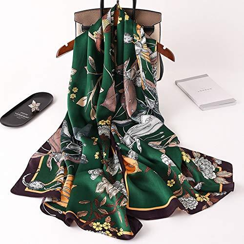 Bufanda de diseño 2020 para mujer, chales y foulard, diseño floral, 100% seda, bufandas largas de pashmina de viaje de playa (color: 4 negro verde)