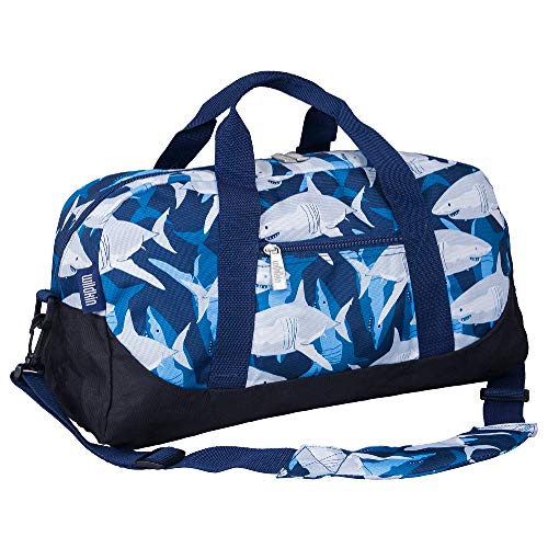 Wildkin Kids Overnighter Duffel Bags for Boys & Girls, Measures 18 x 9 x 9 Inches Duffel Bag for Kids, Carry-On Size & Ideal for School Practice or Overnight Travel, BPA-free (Sharks)