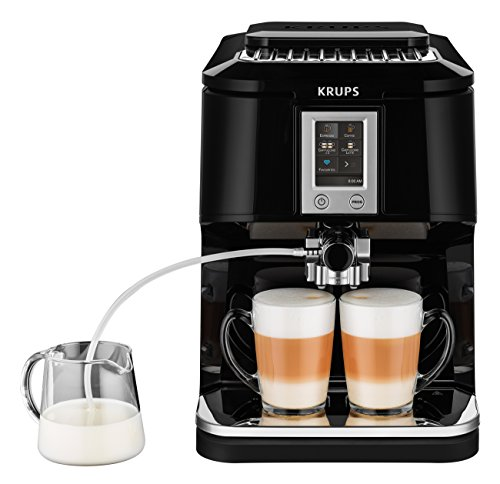 Krups EA8808 Kaffeevollautomat (Two-in-One-Touch Funktion, 15 bar, Touchscreen-Farbdisplay) Edelstahl/ Schwarz