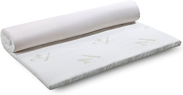 LANGRIA 3 Inch Queen Memory Foam Mattress Topper CertiPUR US Certified With Removable Zippered Hypoallergenic Bamboo Cover And Non Slip Bottom