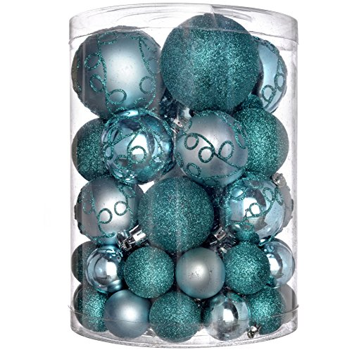 WeRChristmas Shatterproof Deluxe Christmas Tree Baubles, 50-Piece - Turquoise Blue