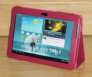 para Funda para Samsung Tab 2 10.1 Funda Tablet Modelo GT-P5100 P5110 P5113 P7500 P7510 PU Folio Flip Leather Folio GT-P5110 P5100 Funda-P5100 P5110 Rosa Rojo