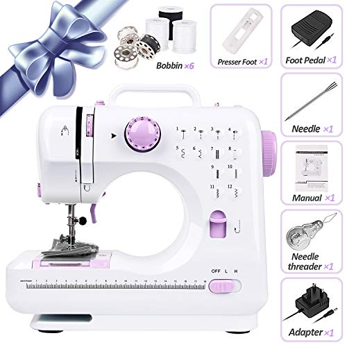 Sewing Machine Portable (12 Stitches, 2 Speeds, Foot Pedal) Electric Overlock Stitch Sewing Machines Mini Embroidery Multifunctional Handheld/Household Tool/Black Thread Gift
