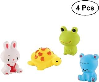 NUOLUX 4Pcs Bath Toys Animals Water Spraying Squeaker Fun Bathtub Toys for Babies Toddlers Kids