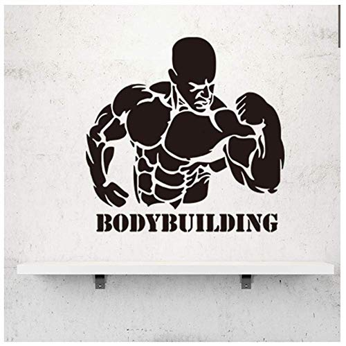 Muscular Man/Bodybuilding Etiqueta De La Pared Para Fitness Ejercicio Gym Poster Decoración Mural Decals Wallpaper Home Decor57X56Cm