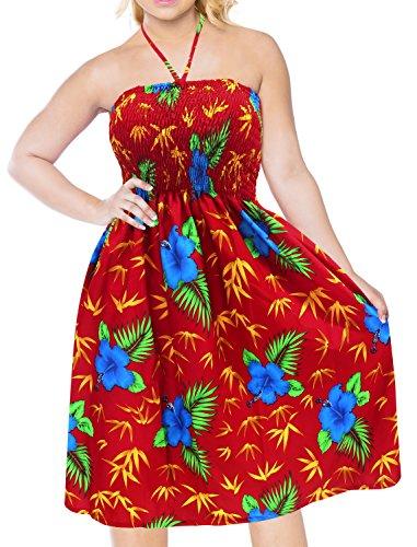 LA LEELA Women's Halter Neck Basic Slim Elastic Top Short Tshirt Dresses L-XL Red_P969
