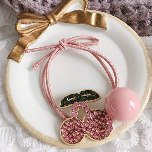 Empty Lot de 2 jolis bandeaux pour cheveux en forme de cerises avec strass et élasticité, pour fille ou enfant - Rose