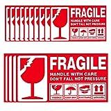 112 Adhesivos Fragile Handle With Care Adhesivos Etiquetas frágiles Etiquetas Adhesivas de Advertencia frágiles Adhesivas Gran Tamaño y Llamativo Pegatinas de Advertencia Rojo Blanco