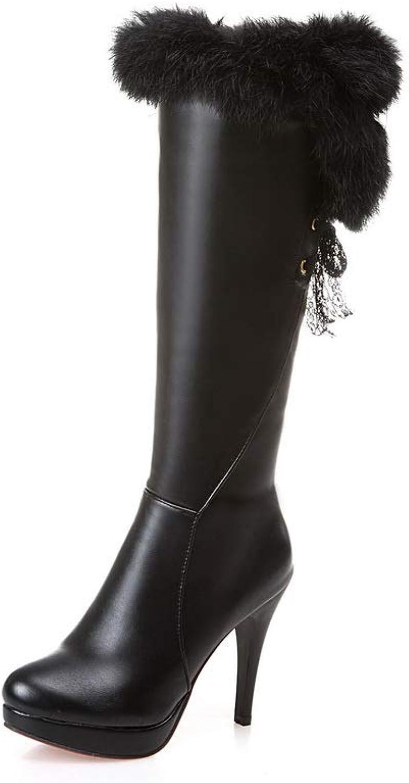 AdeeSu Womens Spikes Stilettos Fur Collar Urethane Boots SXC03468