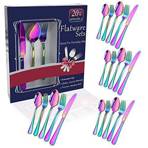 Rainbow Flatware Set Colorful Stainless Steel Silverware Dinnerware Set, Colored Tableware Set for 4, 20-piece flatware Set Service for 4, Include Knife/Fork/Spoon/Teaspoon/Fruit fork (rainbow 20 piec