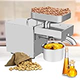 ZXMOTO Oil Press Machine 1500W 110V Electric Automatic Peanut Nut Seed Oil Extractor Stainless Steel Oil Presser Expeller for Commercial Home Use