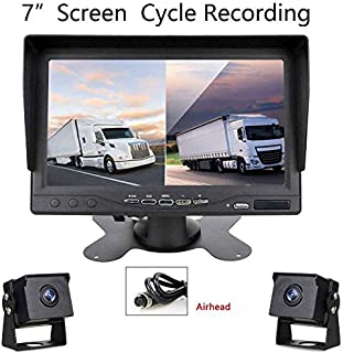 Digital Backup Camera with 7'' DVR Monitor Kit, Support Loop Recording Split Screen for Trailers,Trucks,RVs,High-Speed Observation System Support Low-Light-Level Night Vision and Recording