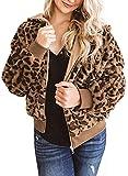 LOSRLY - Chaqueta de felpa con capucha, diseño de leopardo, para mujer, con capucha, con cremallera, con bolsillos