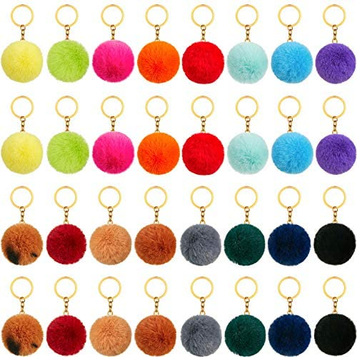 32 Pieces Pom Poms Keychains 2 4 Inch Colorful Fluffy Ball Pompoms Keychain Faux Rabbit Fur product image