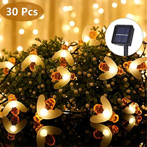 Eyscoco Solar LED Bienen Lichterketten, 30 LED Wasserdichte Solar Lichterketten, Außenleuchten Für Party, Weihnachten, Hochzeit, Garten, Haus, Festival, Dekoration, wärmt Weiß.