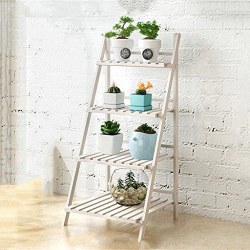 Jardin Étagères d'angle Support d'affichage de fleur en bois pliable de 2 rangées, support de fleur d'intérieur, escalier multifonctionnel de plante rétro pour le jardin/intérieur/extérieur/étag