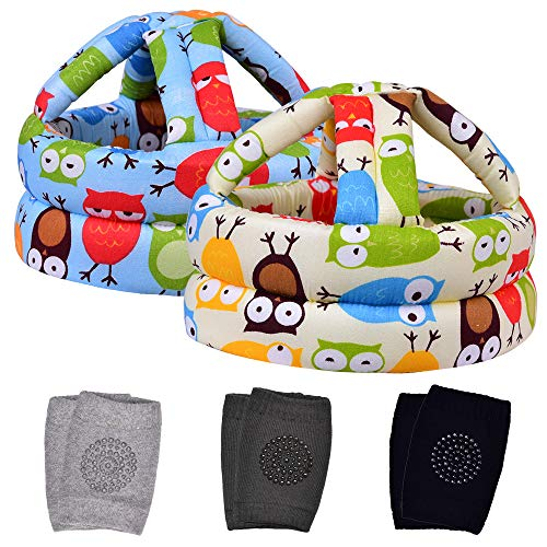 TORASO Baby Head Protector & Baby Knee Pads for Crawling, Infant Safety Helmet & Walking Baby Helmet, for Age 6-36 Months, Two Owls(A)