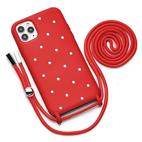 QULT Funda iPhone con Cordón para el Cuello – Funda Protectora Diseñada para Funda iPhone 12 Pro MAX – Funda de Silicona Suave Resistente a Golpes – Verde con Lunares