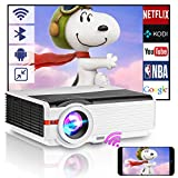 6200 Lumen HD Wifi Projector with Bluetooth Support 1080P, LED Smart Android Wireless Home Outdoor Movie Projector USB HDMI VGA AV Audio for Smartphone Laptop PC TV DVD PS4 Games