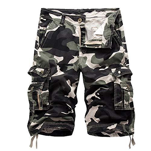 NOBRAND - Pantaloncini da uomo, stile casual, a cinque divisioni, colore: mimetico Verde 1 3XL