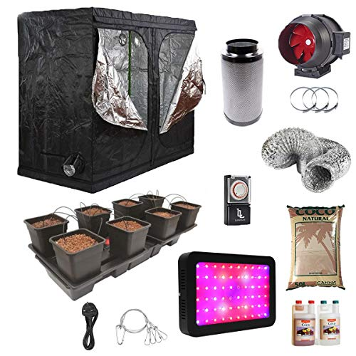 Complete Grow Tent Kit - Wilma Large 8 Pot (11L) - 240x120x200 Grow Tent Kit - Coco - 600w Full Spectrum LED Grow Light