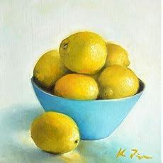 10\u201dx 10\u201d Original Acrylic Oil Encaustic Still Life Pink Orange Lemon