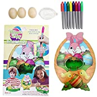 Easter Egg Decorations Kit Egg Painting Easter Painting Arts and Crafts Kit for Kids 8 Colourful Quick Drying Markers, 3 Eggs and Stickers