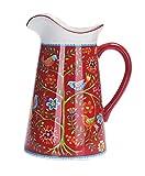 Bico Red Spring Bird Ceramic 2.5 Quarts Pitcher with Handle, Decorative Vase for Flower Arrangements, Dishwasher Safe