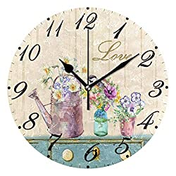 Pfrewn Wooden Sunflower Wall Clock Silent Non Ticking,Daisy Bird Colorful Floral Clocks Battery Operated Watercolor Vintage Desk Clock 10 Inch Quartz Analog Quiet Bedroom Living Room Home Decor