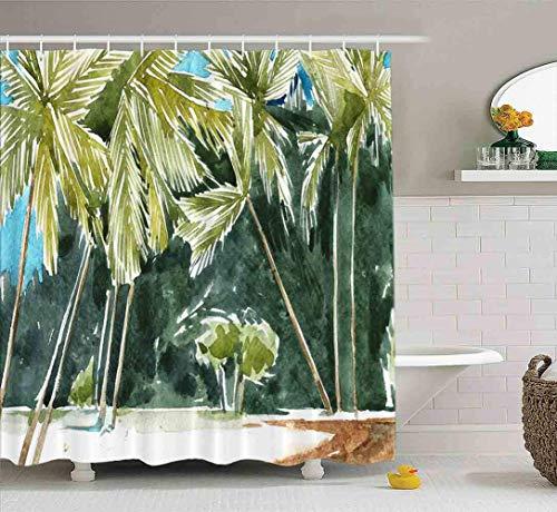 Cortina de ducha, cortina de ducha transparente, linda cortina de ducha, conjunto de cortina de ducha para bebé, acuarela, palmeras, costa, juego de baño con ganchos, cortina de ducha de baño, cortina