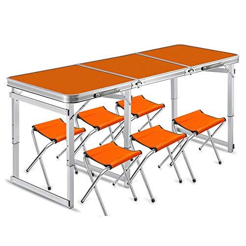 YANGYUAN Juego de mesa y sillas para exteriores, 6 mesas de picnic plegables y portátiles, para camping, para bodas, mercados, jardín, fiesta, coche, interior (color naranja)
