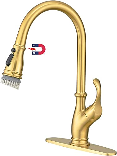 2021 2021 Newest Kitchen Faucet,Gold Kitchen Faucet with Sprayer,Single Handle Commercial High Arc Single Handle Brushed Gold Kitchen online sale Sink Faucets online sale with Deck Plate outlet sale