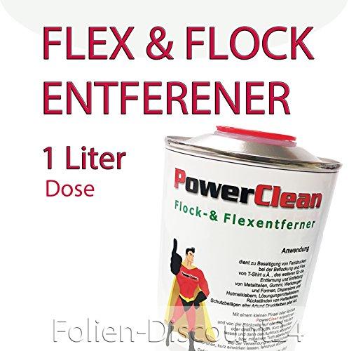 Die Werbepalette - PowerClean 39,90 € / 1 L FLOCKENTFERNER BÜGELFOLIE Flexfolien - 1 Liter Dose Silikonreiniger Kunstoffreiniger TOP ! Preistip Flex Flock Adhesive Remover