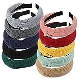 Winpok 10 paquetes de diademas para mujeres, diademas para mujeres de punto bandas para el pelo de tela, diademas elásticos para la cabeza, accesorios para el pelo al aire libre para niñas