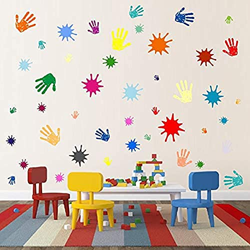 BUCKOO Rainbow Color Paint Splatter and Splotches Wall Decal - Colorful Hand Print Wall Decal Sticker - Colorful for Nursery Wall Decal - Kids Room Decor - Calssroom Decals