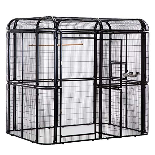 Walnest Large Black Iron Big Walk-in Bird...