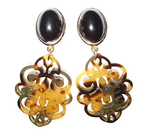 Auffällig: Sehr große leichte Ohr-Clips vergoldet Stein schwarz Anhänger oval braun Horn-Optik Geschenk Fest Party elegant Dirndl Fashion Designer JUSTWIN