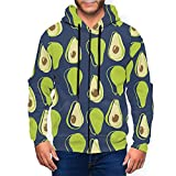 Sudadera con capucha para hombre con cremallera completa con capucha y diseño clásico con capucha, Aguacate Ripe Mitades Aguacate Negro, XXXL