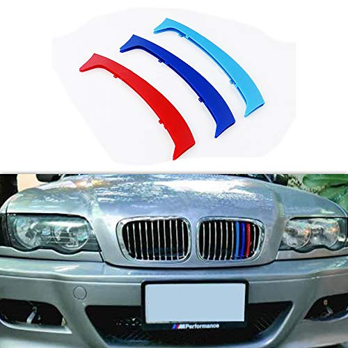 carado Front Grille Grill Cover for BMW 3 Series E46 316 318 320 325 328 330 323 Sedan and Touring 1998-2001 M Color Insert Trim Clips 3Pcs (10 Grilles)