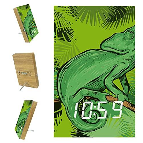 Bennigiry Reloj despertador de camaleón en la rama de hojas tropicales LED digital de carga USB para oficina, cocina, sala de estar, decoración del hogar