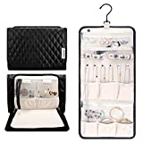 Caperci Hanging Travel Jewelry Organizer Case Black Leather Foldable Jewelry Roll for Storage Travel, Necklaces, Rings, Earrings, Bracelets